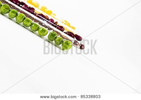 colorful beans in glass