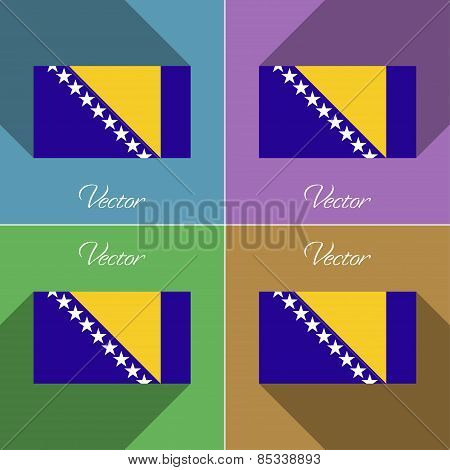 Flags Bosnia And Herzegovina. Set Of Colors Flat Design Long Shadows. Vector