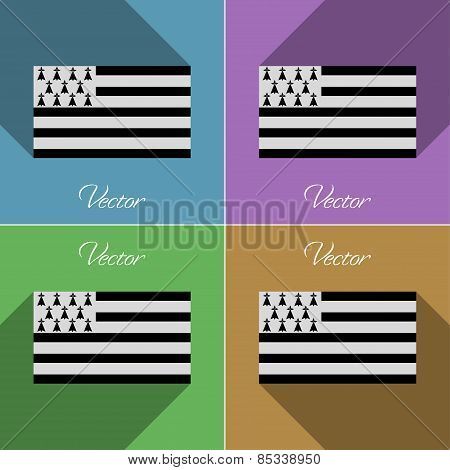 Flags Brittany. Set Of Colors Flat Design And Long Shadows. Vector