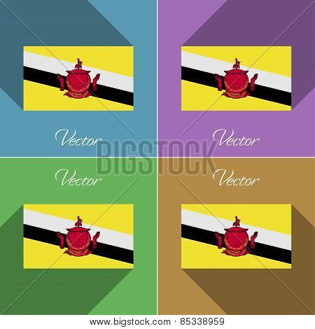Flags Brunei. Set Of Colors Flat Design And Long Shadows. Vector