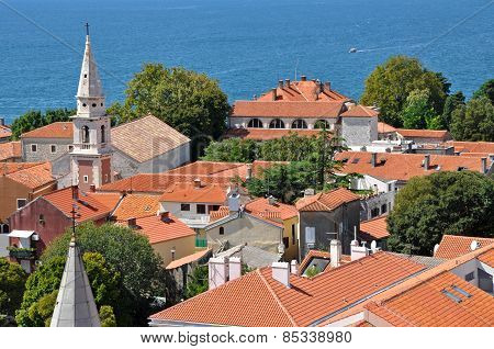 View Of Zadar From The Tower Of Saint Donat Church. Croatia