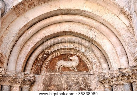 Bas Relief With Sculpted Animal On A Church