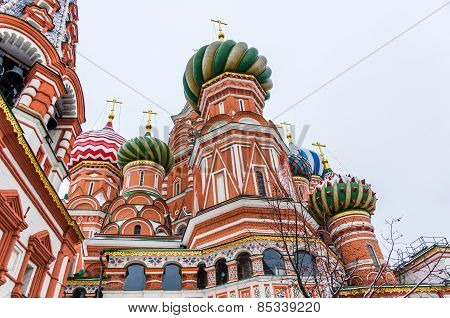 St. Basil Cathedral On Winter In Moscow, Russia