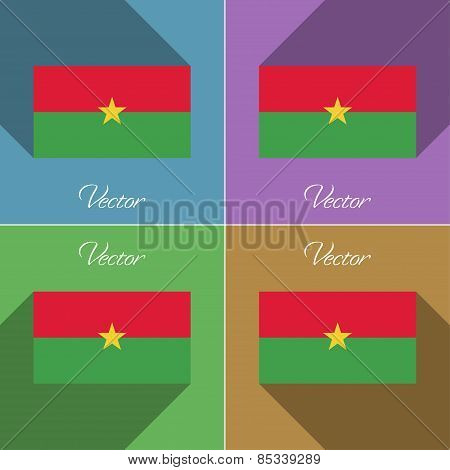 Flags Burkia Faso. Set Of Colors Flat Design And Long Shadows. Vector