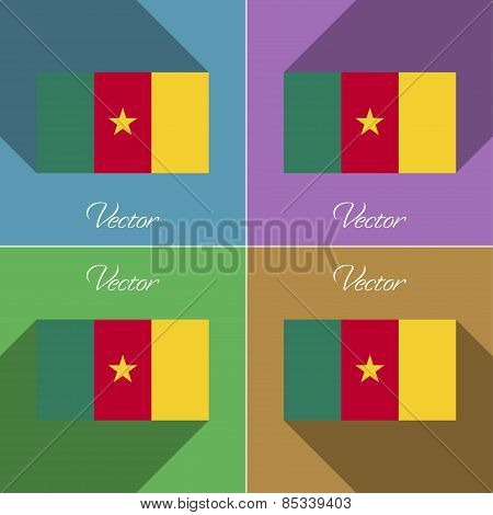 Flags Cameroon. Set Of Colors Flat Design And Long Shadows. Vector