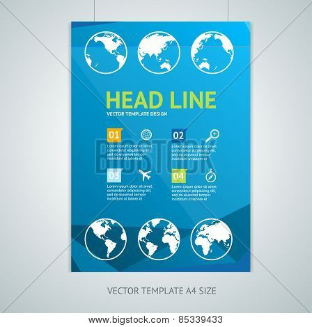 Vector maps brochure flyer design templates