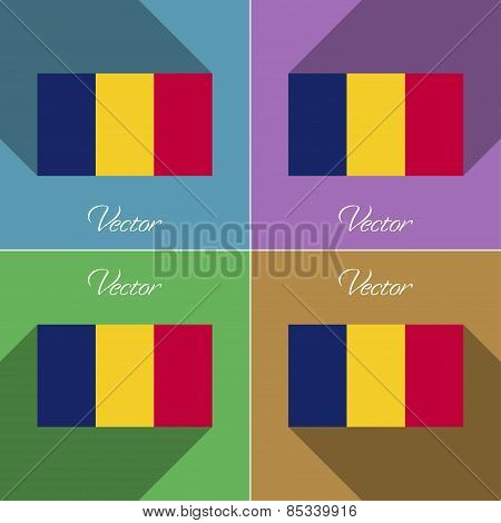 Flags Chad. Set Of Colors Flat Design And Long Shadows. Vector