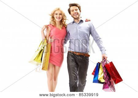 Handsome couple on a shopping trip