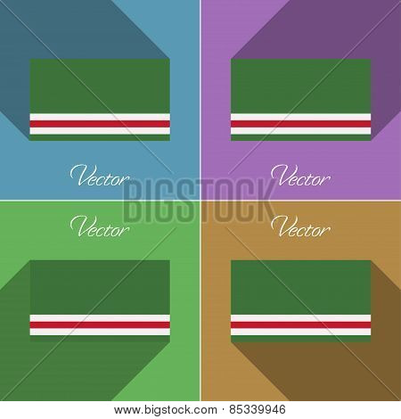 Flags Chechen Republic Of Ichkeria. Set Colors Flat Design And Long Shadows. Vector