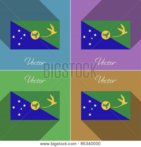 Flags Christmas Island. Set Of Colors Flat Design And Long Shadows. Vector