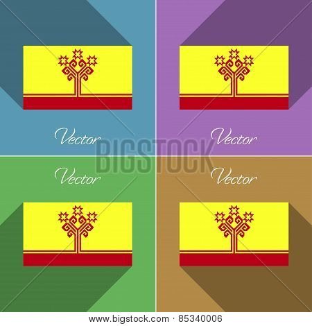 Flags Chuvashia. Set Of Colors Flat Design And Long Shadows. Vector