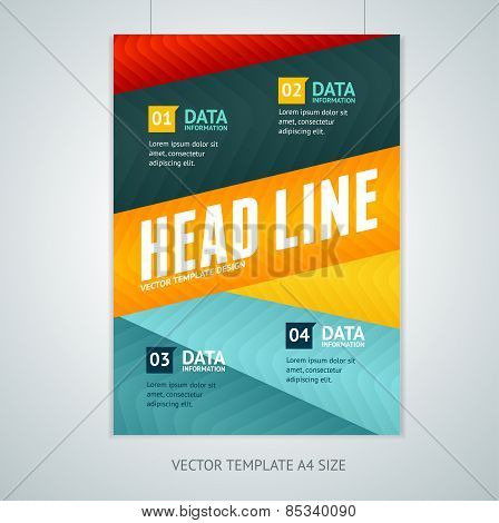 Vector geometric lines brochure flyer design templates