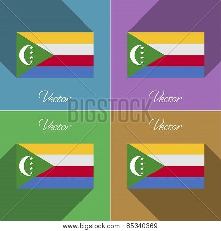 Flags Comoros. Set Of Colors Flat Design And Long Shadows. Vector