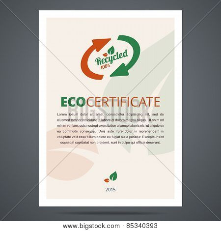 Recycled product or eco certificate.