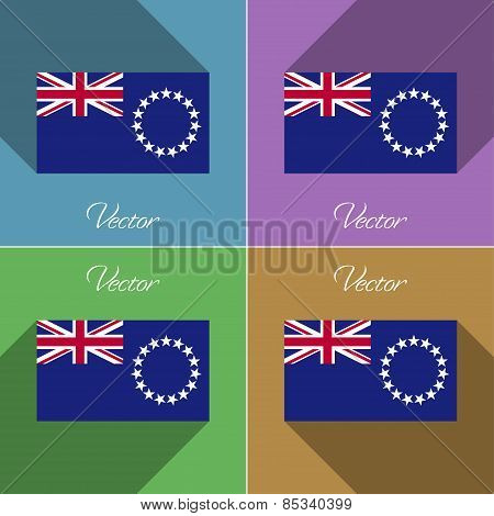 Flags Cook Islands. Set Of Colors Flat Design And Long Shadows. Vector
