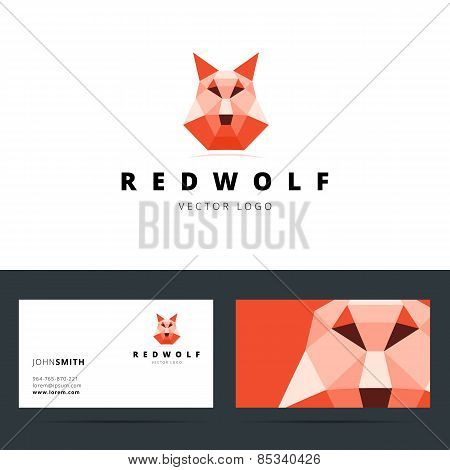 Triangle polygonal logo with wolf sign and business card templat