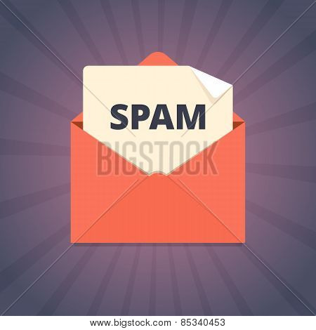 Spam mail illustration in flat style.