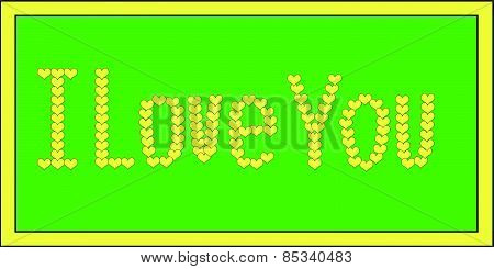 Yellow I Love You on Green