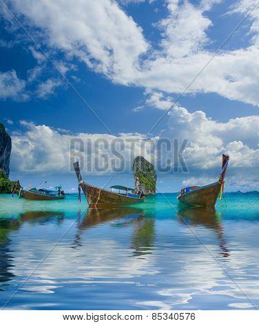 Long tailed boat Ruea Hang Yao in Krabi Thailand.