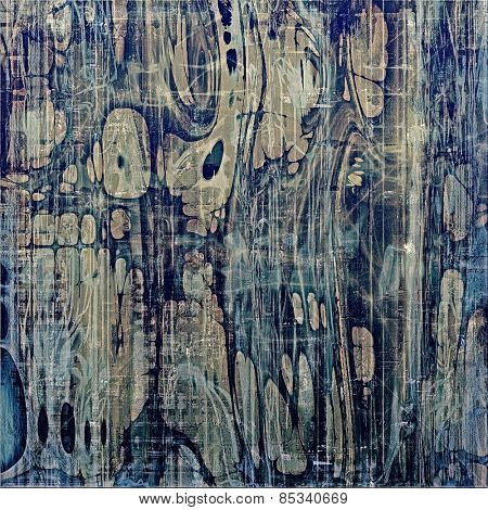 Abstract composition on textured, vintage background with grunge stains. With different color patterns: brown; gray; blue; cyan