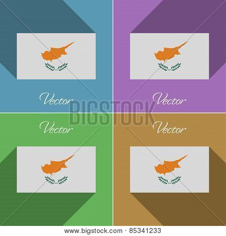Flags Cyprus. Set Of Colors Flat Design And Long Shadows. Vector