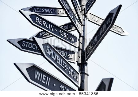 Europe Capitals Signpost