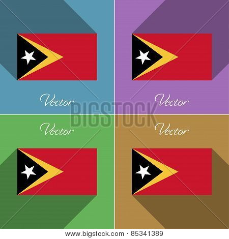 Flags East Timor. Set Of Colors Flat Design And Long Shadows. Vector