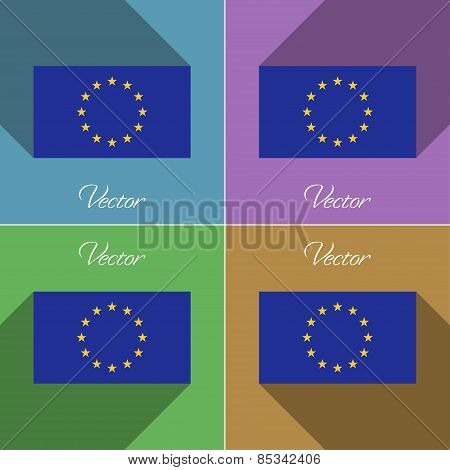 Flags European Union. Set Of Colors Flat Design And Long Shadows. Vector