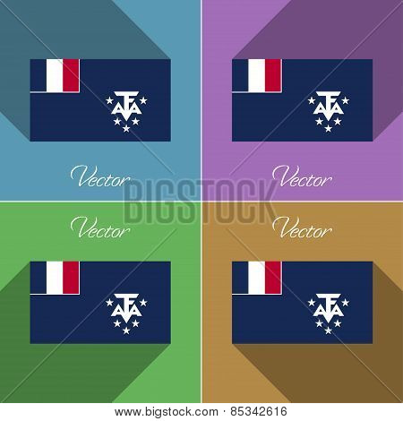 Flags French And Antarcic. Set Of Colors Flat Design Long Shadows. Vector