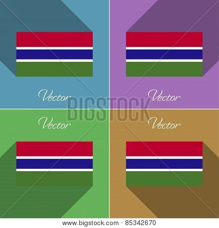 Flags Gambia. Set Of Colors Flat Design And Long Shadows. Vector