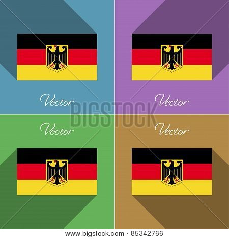 Flags Germany. Set Of Colors Flat Design And Long Shadows. Vector
