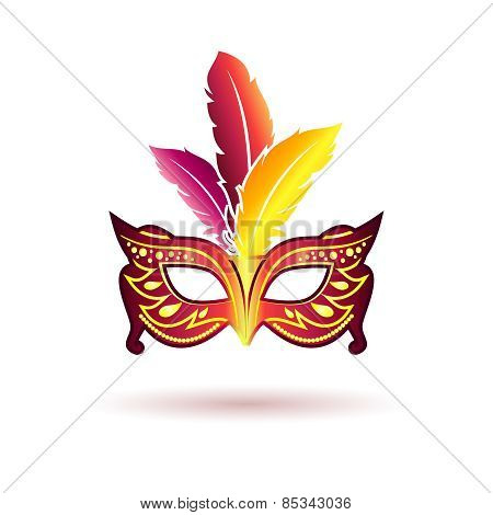 Vector carnival mask with feathers