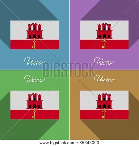 Flags Gibraltar. Set Of Colors Flat Design And Long Shadows. Vector