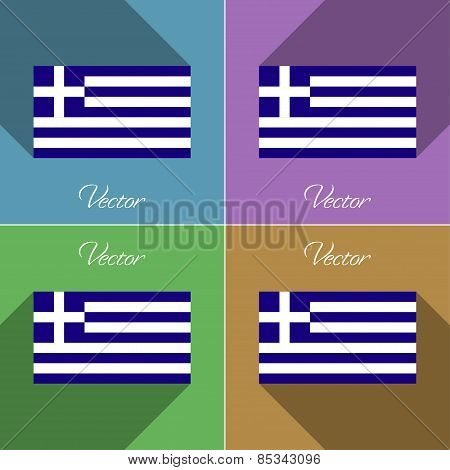 Flags Greece. Set Of Colors Flat Design And Long Shadows. Vector