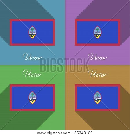 Flags Guam. Set Of Colors Flat Design And Long Shadows. Vector