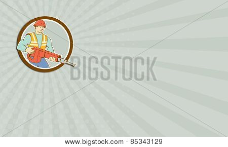 Business Card Construction Worker Jackhammer Circle Cartoon