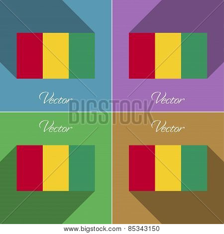 Flags Guinea. Set Of Colors Flat Design And Long Shadows. Vector