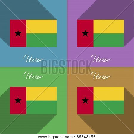 Flags Guineabissau. Set Of Colors Flat Design And Long Shadows. Vector