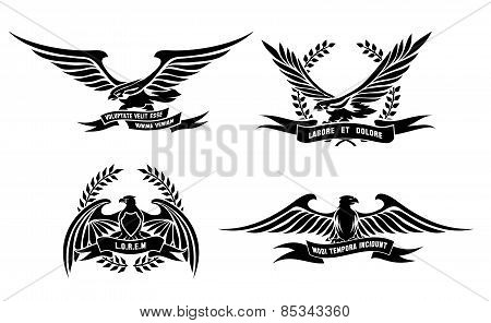 Eagle heraldic labels with laurel wreaths, shields and ribbons