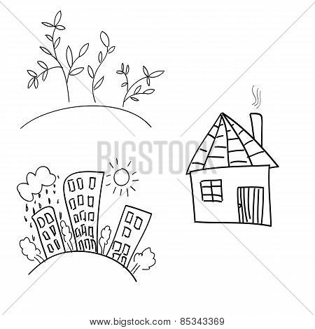 Illustration of hand drawn houses on white