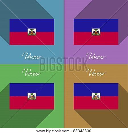 Flags Haiti. Set Of Colors Flat Design And Long Shadows. Vector