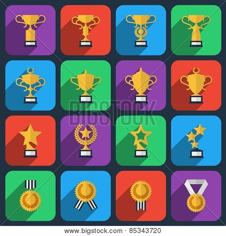 Winner trophy and award icons in flat style