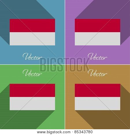 Flags Indonesia. Set Of Colors Flat Design And Long Shadows. Vector