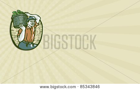 Business Card Organic Farmer Harvest Basket Woodcut Linocut