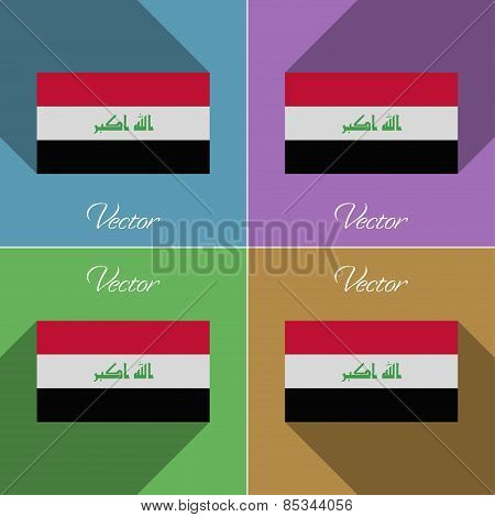 Flags Iraq. Set Of Colors Flat Design And Long Shadows. Vector