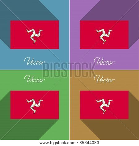 Flags Isle Of Man. Set Colors Flat Design And Long Shadows. Vector