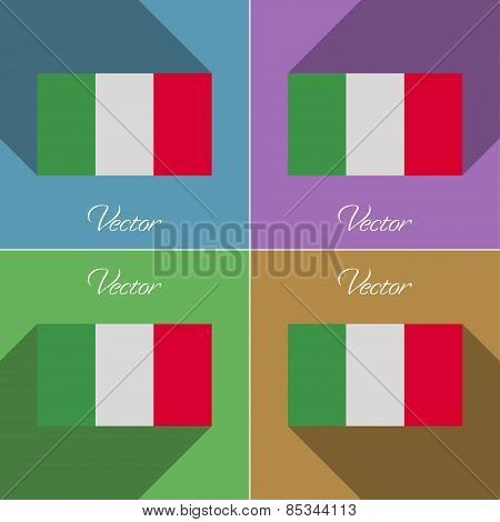 Flags Italy. Set Of Colors Flat Design And Long Shadows. Vector