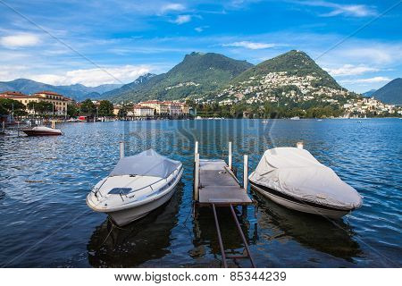 View Of Lugano Lake And The Mountain In Locarno City
