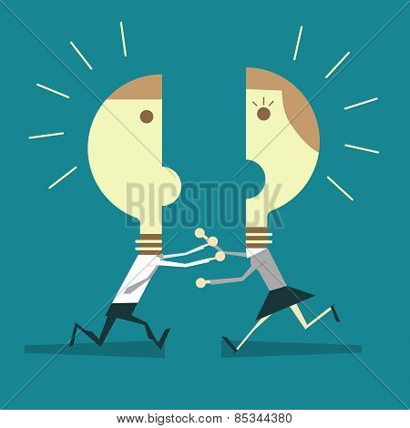 Business Man And Business Woman With Light Bulb Heads