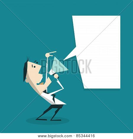 Businessman With A Megaphone And Speech Bubble